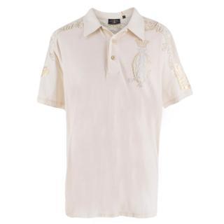 Christian Audigier Cream Embellished Polo Shirt