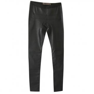 Rick Owens black waxed trousers