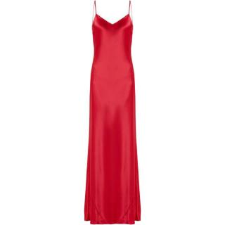 Galvan Red V-Neck Satin Slip Gown