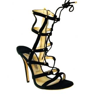 Jimmy Choo black suede lace up caged sandals