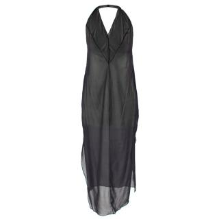 Donna Karan Black Sheer Halterneck Dress