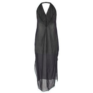 Donna Karan Black Sheer Halterneck Dress