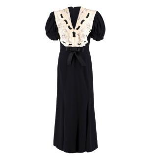 Odicini Couture Vintage Black Silk Dress