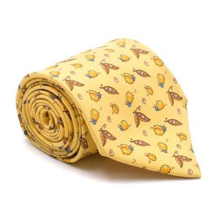Hermes Yellow Bug Pattern Silk Tie