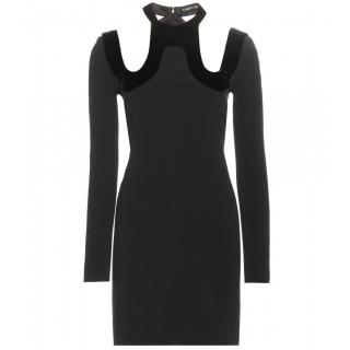 Tom Ford Velvet-Trimmed Cut-Out Detail Crepe Dress
