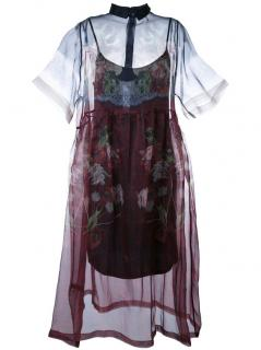 Mother of Pearl Floral Print Sheer Dress