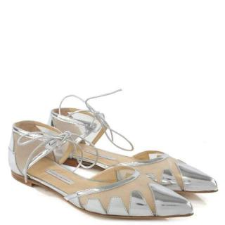 Bionda Castana 'Denni' Metallic Leather and Mesh Flats