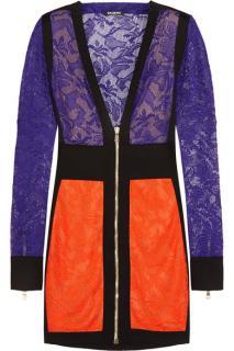 Balmain Colour-block Crochet Knit Mini Dress
