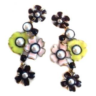 Oscar De La Renta Pearl Enamel Flower Drop Earrings