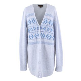 Coach Blue Knit Mohair Cardigan