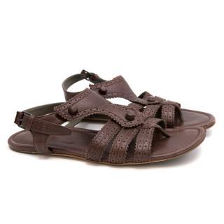 Balenciaga Brown Leather Sandals
