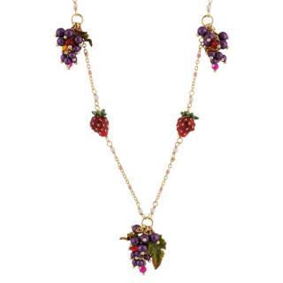 Les Nereides Handcrafted Glazed Enamel Grape & Strawberry Necklace