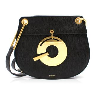 Tom Ford Black Calf Leather Saddle Bag