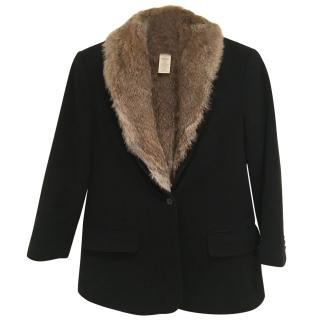 Elizabeth and James Rabbit Fur Lined Wool Blazer