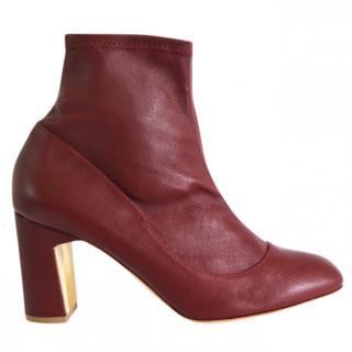 Rupert Sanderson Tamora Burgundy Leather Sock Ankle Boots