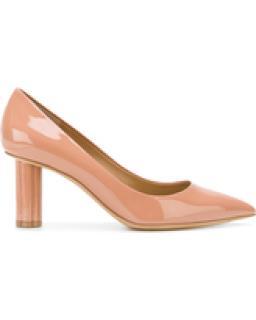Salvatore Ferragamo Patent Nude Flower Heel Pumps