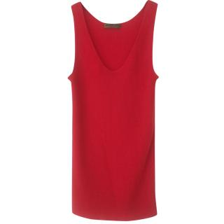 Alexander McQueen Red Cashmere Ribbed Knit Top