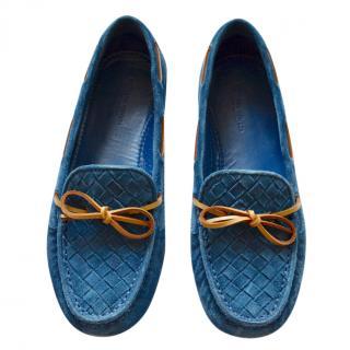 Bottega Veneta Intrecciato blue suede moccasins