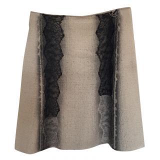 Bottega Veneta Wool & Lace Skirt