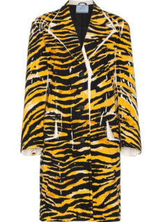 Prada Current Season Single Breasted Tiger Print Coat