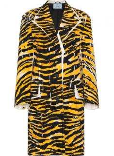 Prada Current Season Single Breasted Tiger Print Coat
