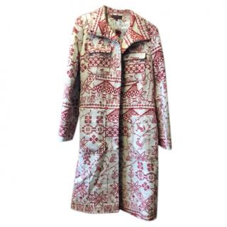 Kenzo Cream & Red Embroidered Coat