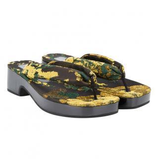 Dries Van Noten Floral Brocade Thong Platform Sandals