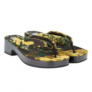 Dries Van Noten Floral Brocade Thong Platform Sandals