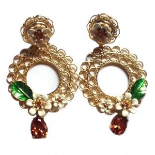Dolce & Gabbana Enamel Flower crystal Clip Earrings