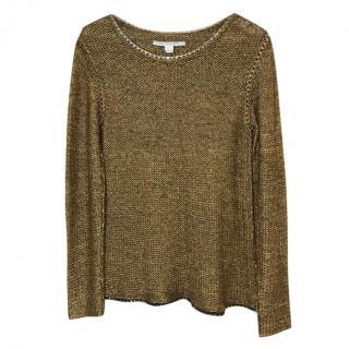 Diane Von Furstenberg Faye Chain Trim Sweater.