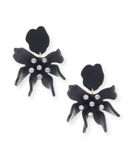 Lele Sadoughi Black Crystal Daffodil Clip Earrings