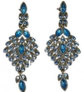 Oscar De La Renta Peacock Crystal Drop Earrings
