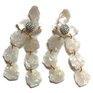 Lele Sadoughi Mother Of Pearl Crystal Petal Drop Earrings