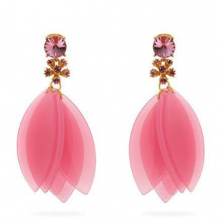 Oscar de la Renta Pink Crystal-embellished Petal Clip-on Earrings