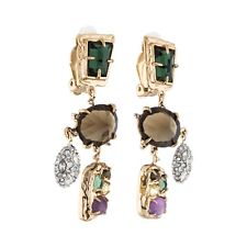 Alexis Bittar Multi Stone Crystal Pave Drop Clip On Earrings