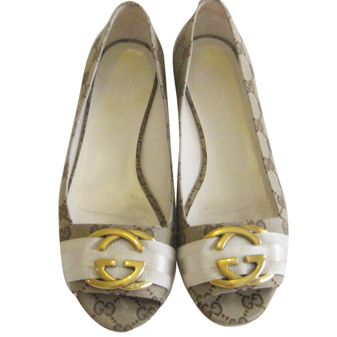 Gucci Monogram Ribbon Peep Toe Ballet Flats