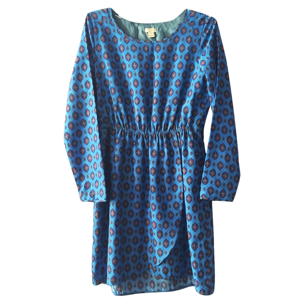 J.Crew Blue Medallion Print Tulip-Hem Dress