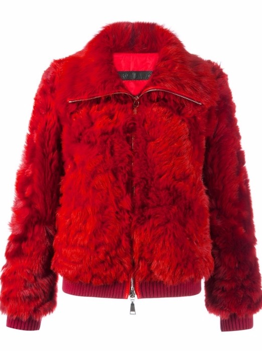 DROMe Red Shearling Zip-Up Jacket