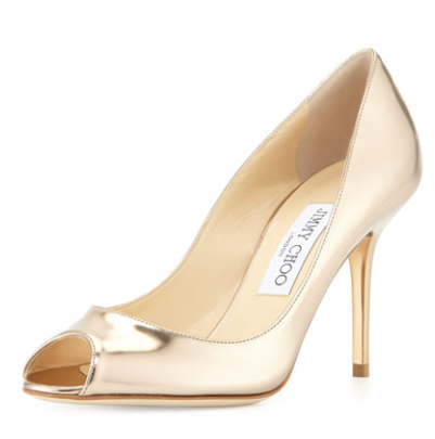 Jimmy Choo Evelyn Peep Toe Gold Mirror Pumps