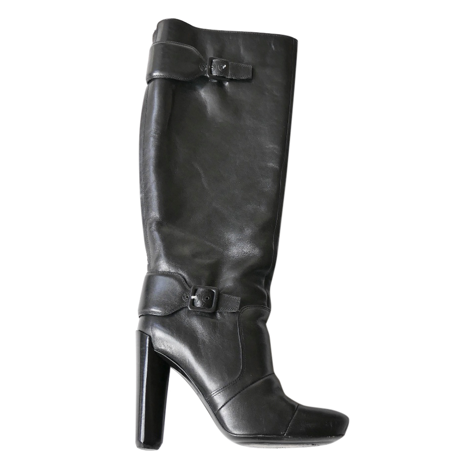 7d888649710 Louis Vuitton Black Strap Detail Heeled Knee High Boots