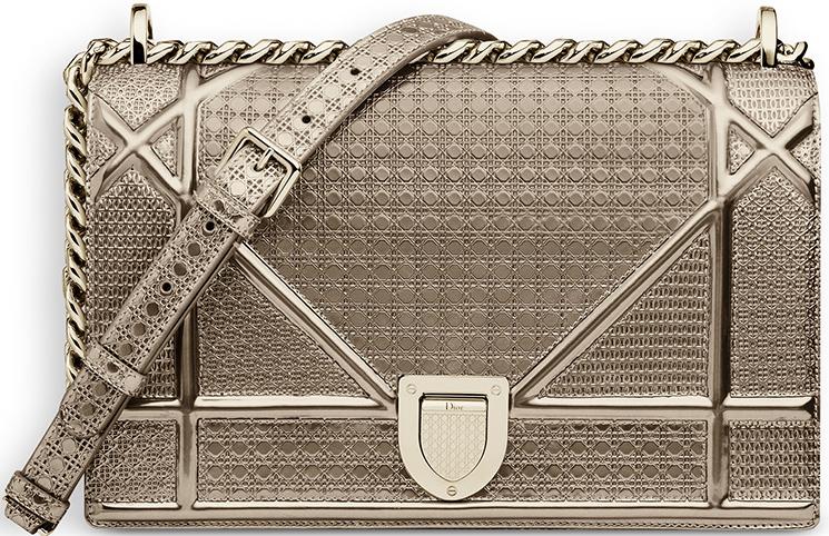 Dior Microcannage Metallic Calfskin Champagne Diorama Flap Bag   HEWI London 8a12fb24ef