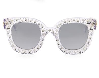 4c1da70dfe0 Gucci Metallic Oversize Crystal Star Mirrored Square Sunglasses ...