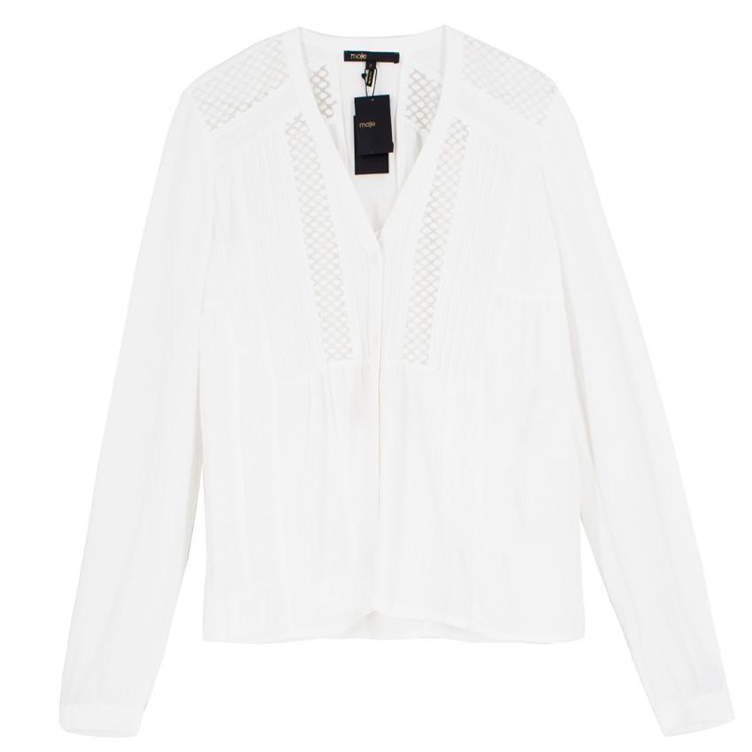 Maje White Sheer Panelled Blouse