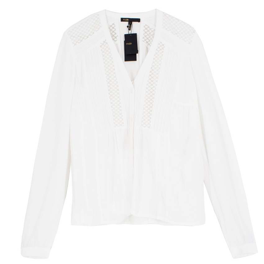 Maje White Sheer Panelled Blouse