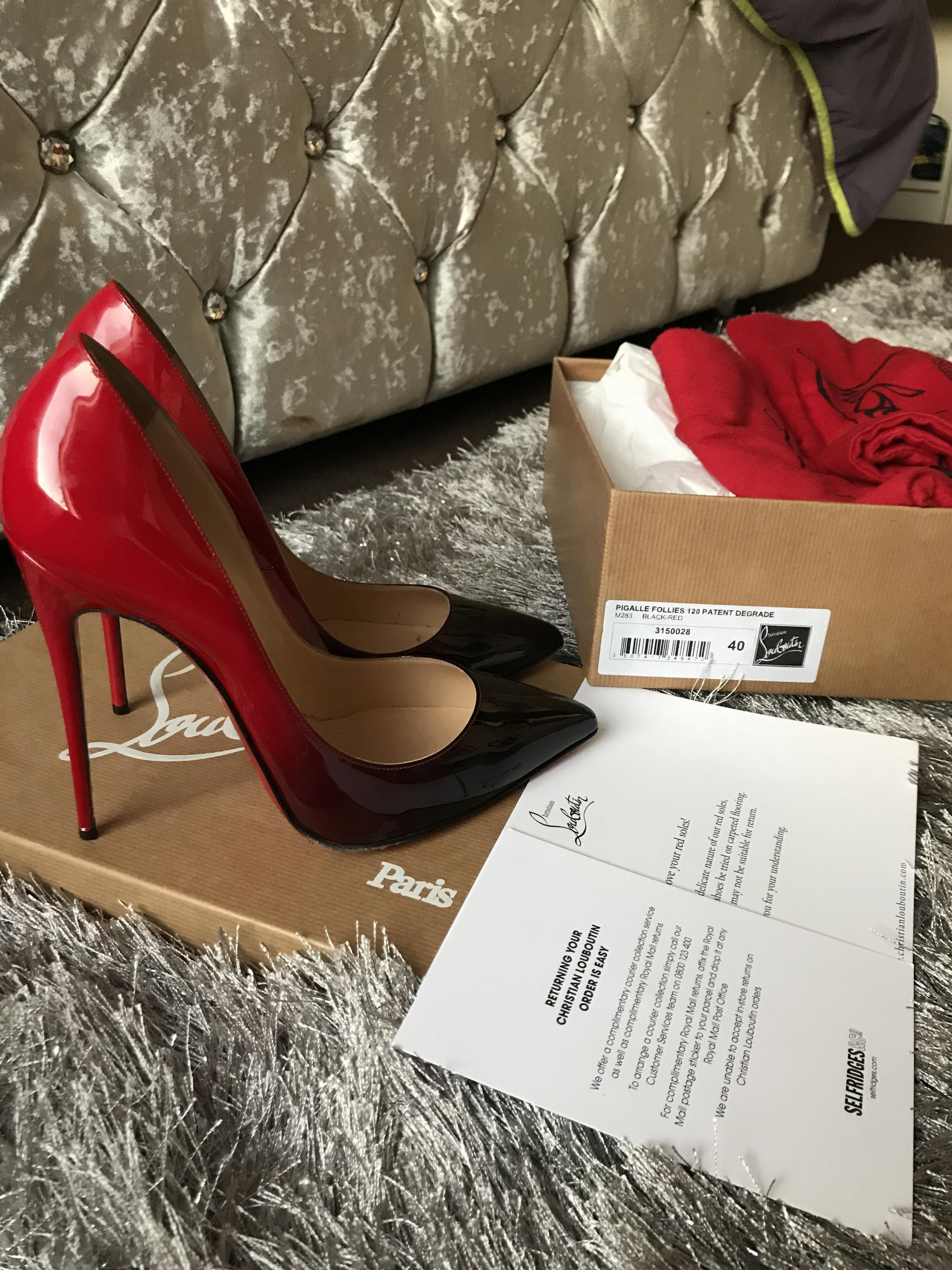 new product 5d288 f8235 Christian Louboutin 120 Patent Degrade Pigalle Follies