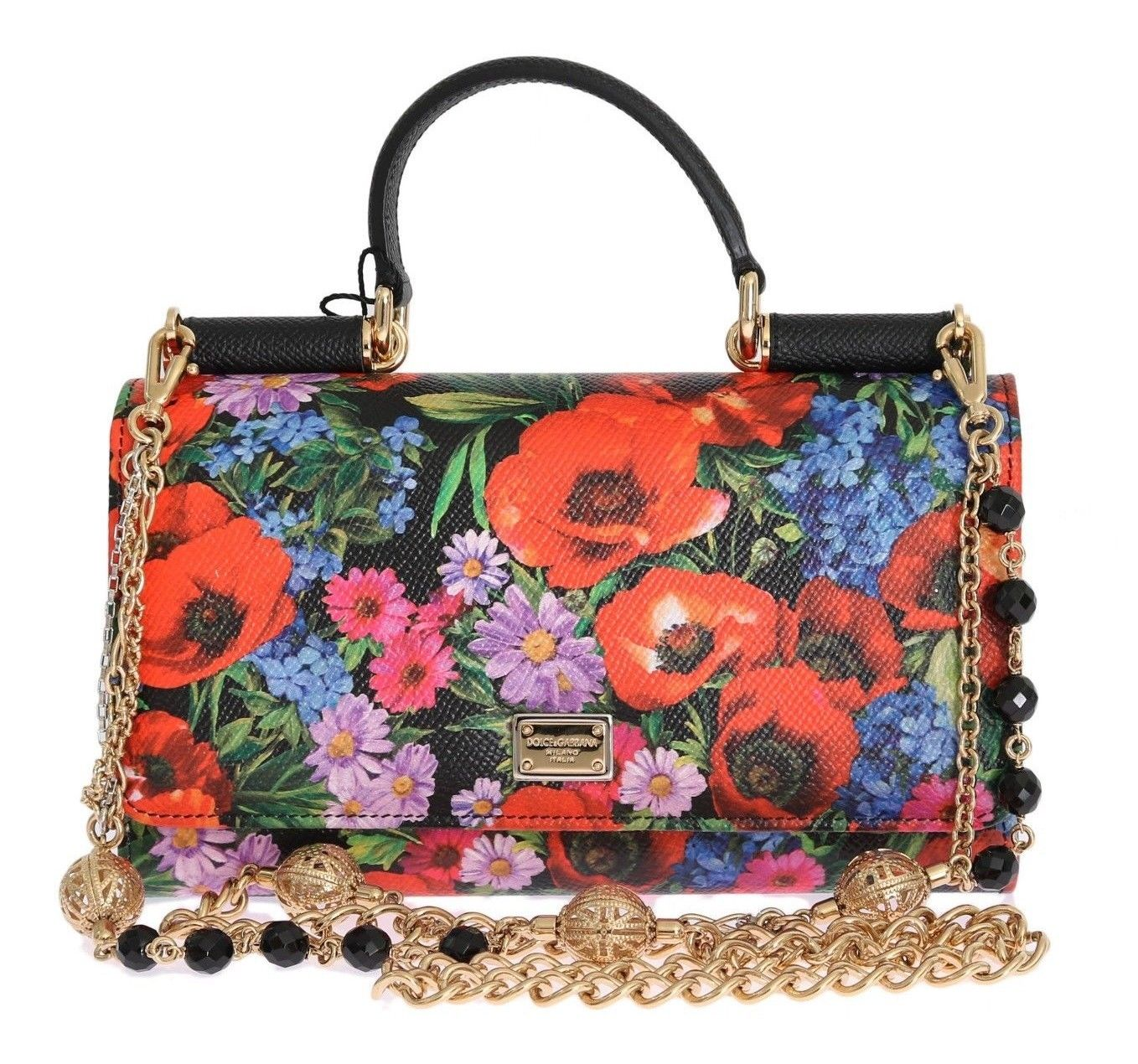 e34f778647ba Dolce Gabbana Floral Print Sicily Wallet On A Chain