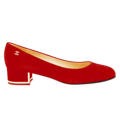 Chanel Red Suede Low-Heeled Pumps