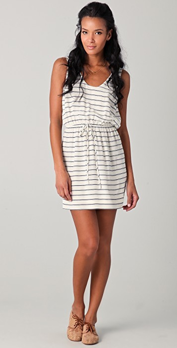 Joie Porcelain Silk Striped Dress