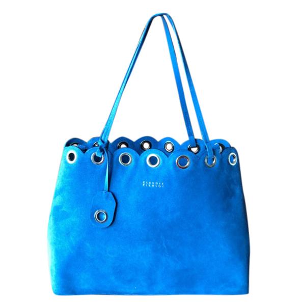 Claudie Pierlot Blue Suede Eyelet Bag