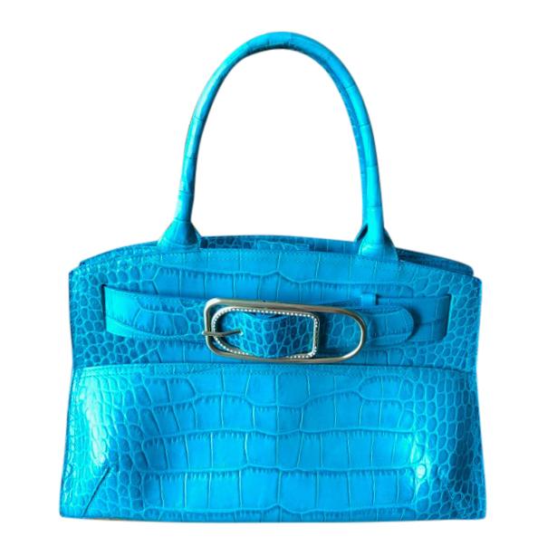 Furla Turquoise Snake Embossed Top Handle Bag